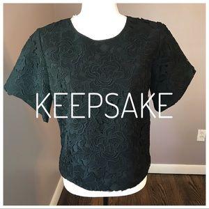 KEEPSAKE Black Lace Crop Top